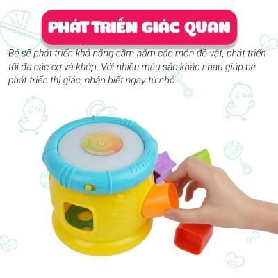 Đồ chơi phát triển tư duy - vận động tinh cho bé: Trống thả hình khối có đèn nhạc phát triển giác quan - Winfun 0748