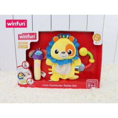 Set 3 đồ chơi cầm tay xúc xắc chíp chíp, thú bông sột soạt hình sư tử Winfun 3028
