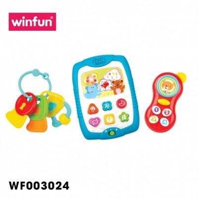 Set 3 món đồ chơi điện thoại, Ipad kèm chìa khóa gặm nướu Winfun 3024