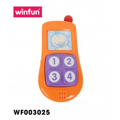 Set 3 món đồ chơi điện thoại, Vô lăng phát nhạc kèm chìa khóa gặm nướu Winfun 3025